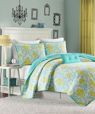 look what i found on zulily yellow teal floral three piece bedding set zulilyfinds. Black Bedroom Furniture Sets. Home Design Ideas