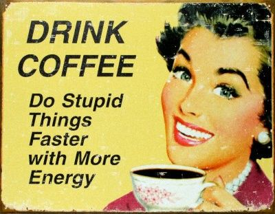 Drink Coffee Humorous Retro Sign PDF Cross-Stitch Pattern