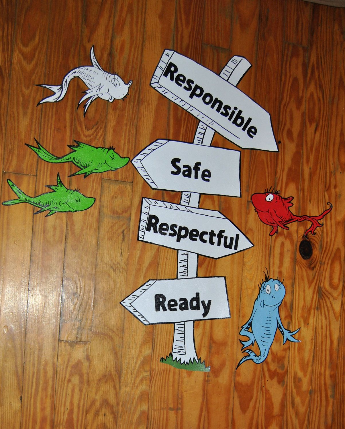 Dr Seuss Sign and 1 Fish 2 Fish Murals Wall Decor Hand ...