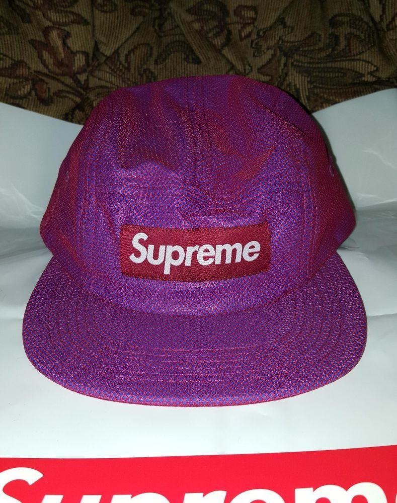Supreme Bonded Mesh Camp cap hat Magenta w  Large bag and Red Box Logo  sticker  Supreme  Camp 3d329792b424