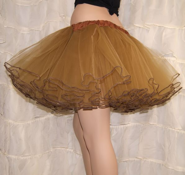 Antique Gold Piped Costume TuTu Crinoline Skirt Adult by mtcoffinz, $65.00