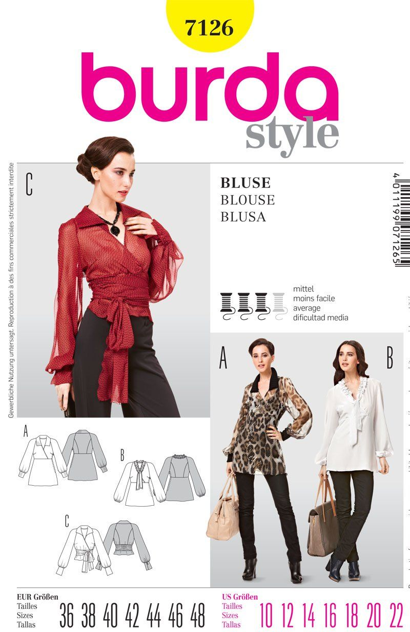 4a4cb32682 Burdastyle Wrap Blouse Pattern | Toffee Art
