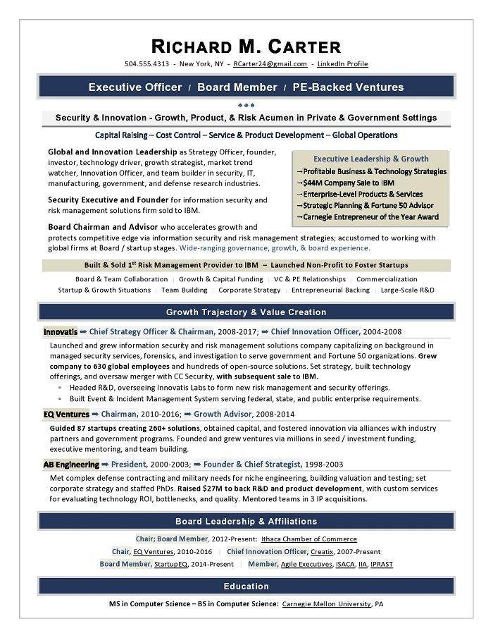 Board of Directors Resume Sample Executive resume