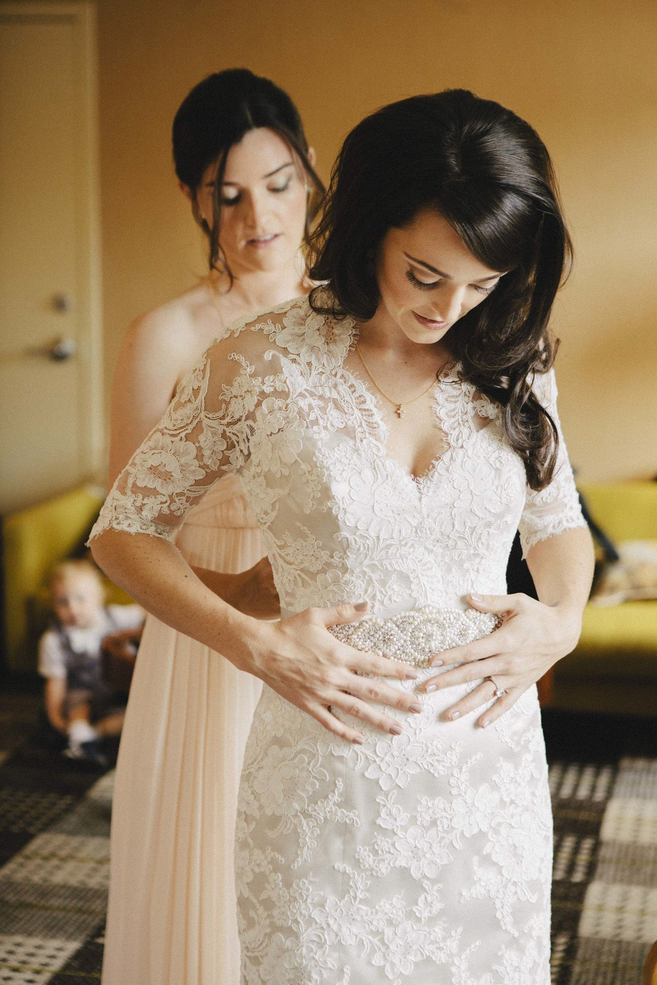 Chicago wedding dresses  Modern Indoor Chicago Wedding  Chicago wedding Lace dress and Chicago