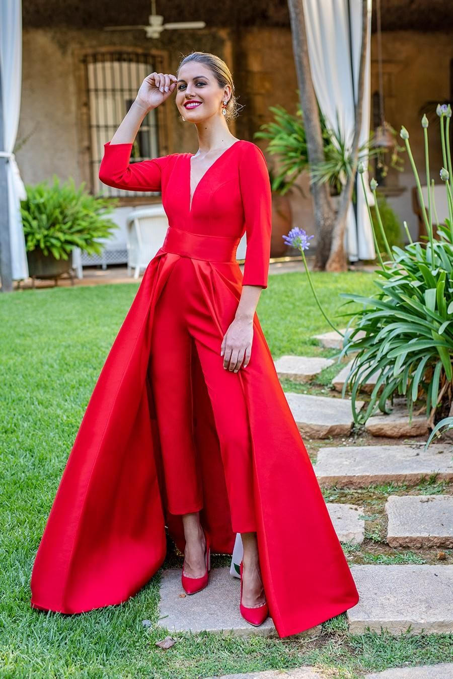 07091a9d640 Krikor Jabotian Red Jumpsuits Formal Evening Dresses With Detachable Skirt  V Neck Prom Dresses Party Wear Pants For Women Custom Made Gold Prom Dresses  Long ...