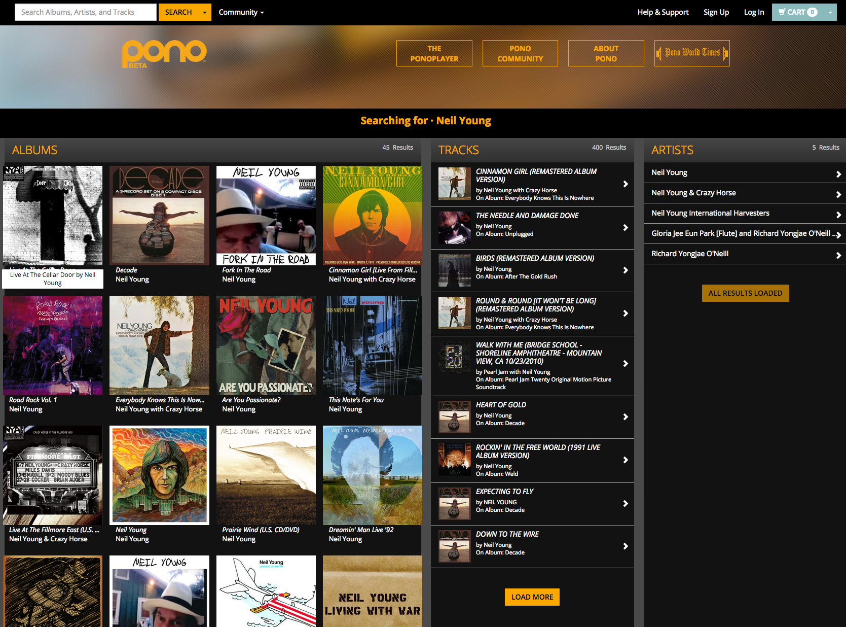 Fluid width & responsive search results page for a music