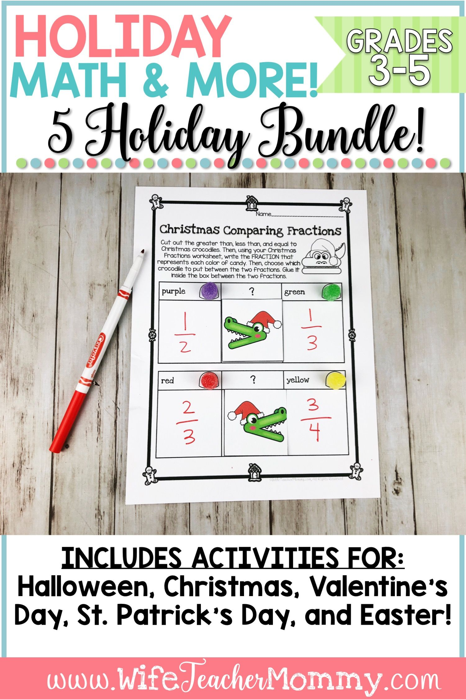 Holiday Math All Year Long Bundle For 3rd 5th Grades