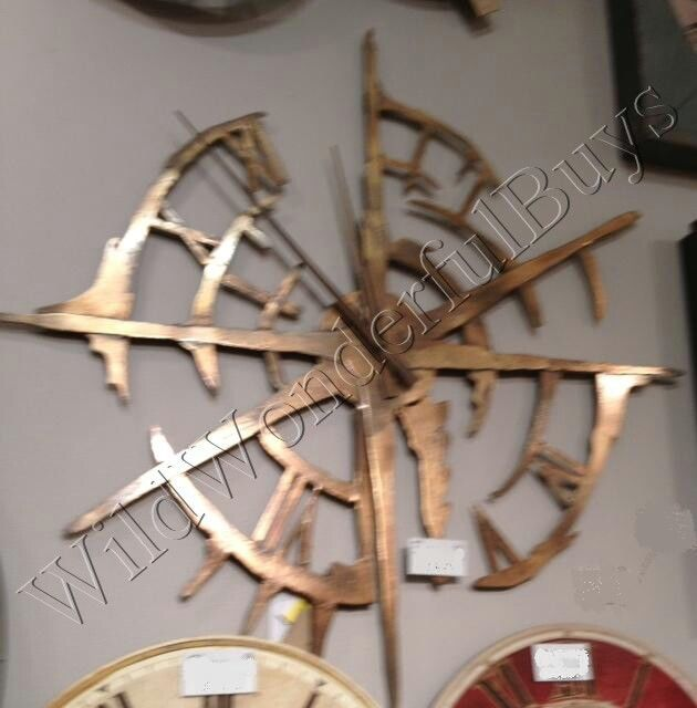 "Large RUSTIC MODERN Disconnected Metal WALL CLOCK Oxidized Copper 43""D Compass  #Clocks"