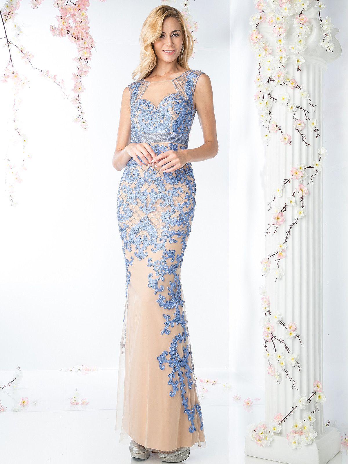 Embellished illusion evening dress by cinderella divine kd