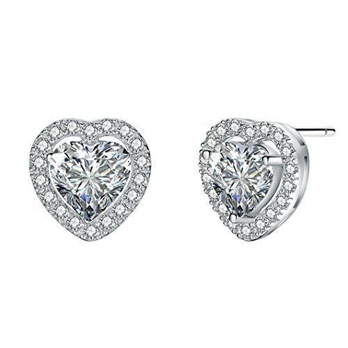 Miore Cubic Zirconia Sterling Silver 925 Stud Earrings a8SuX