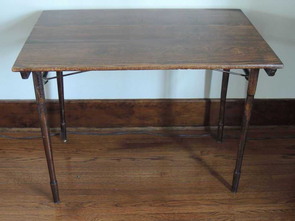 Antique Folding Sewing Table With Ruler Folding Sewing Table, Ruler, Fold  Down Table