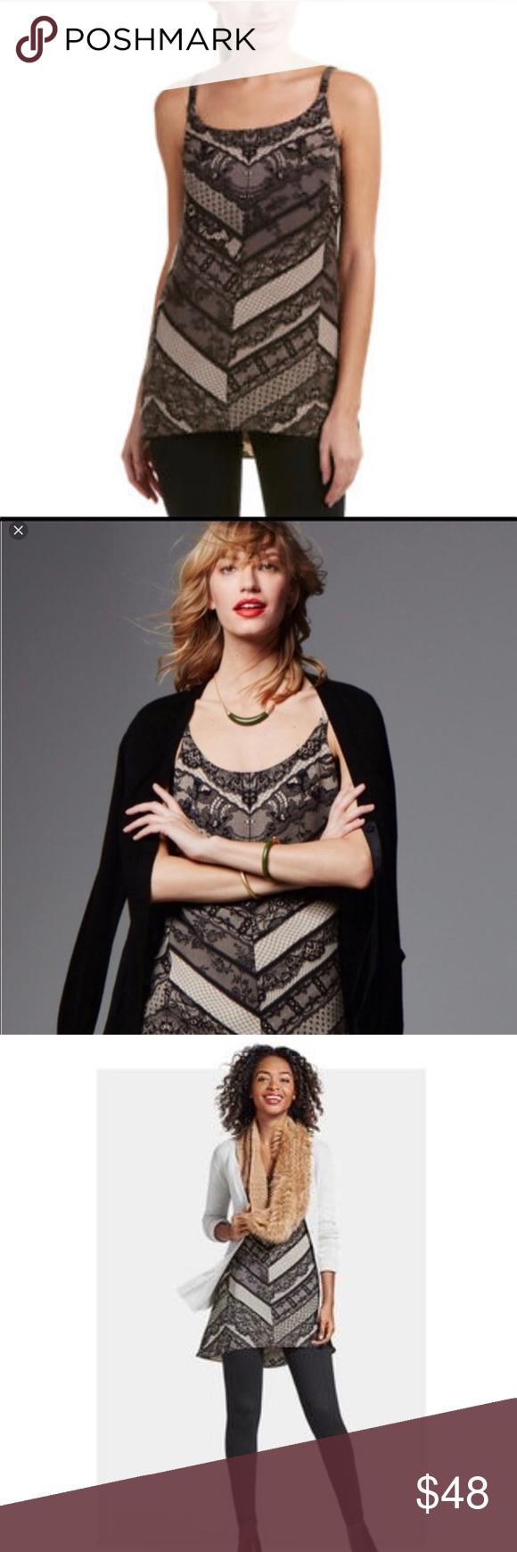 Black Lace Print Monaco Cami Top 3278 Nwt Cabi A
