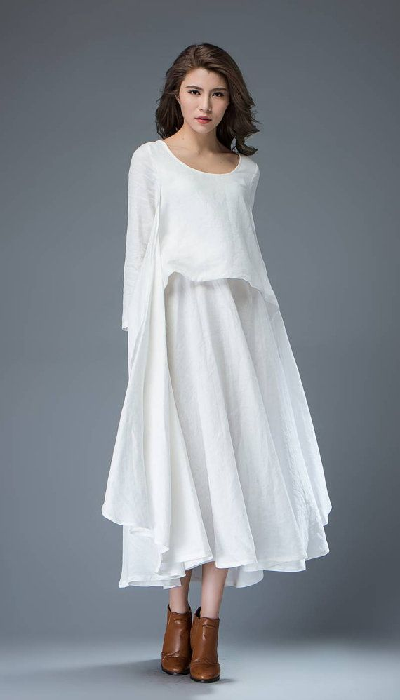 69123da0d4a Geschichtete Kleider. Weißes Kleid · White Linen Dress Layered Flowing  Elegant Long Sleeve Long Mode Heute