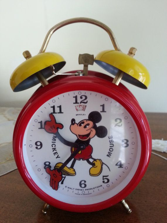 Vintage Mickey Mouse Alarm Clock Walt Disney Land Red