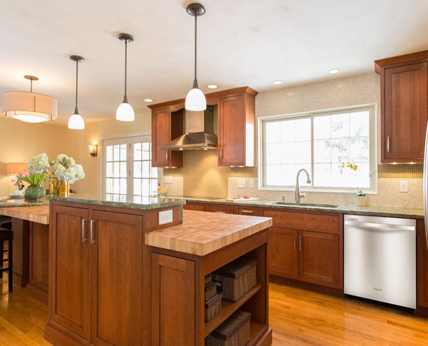 Traditional Kitchen With Cherry Cabinets Amp Butcher Block