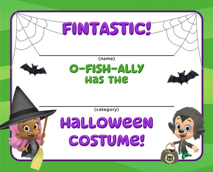 Bubble Guppies Halloween Costume Certificates Silly Spooky