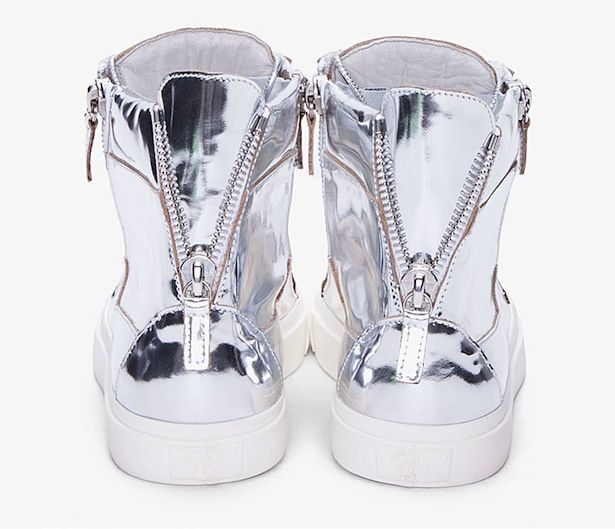 f724f77abe38b Giuseppe Zanotti silver mirror metallic zip sneakers. | Luxury ...