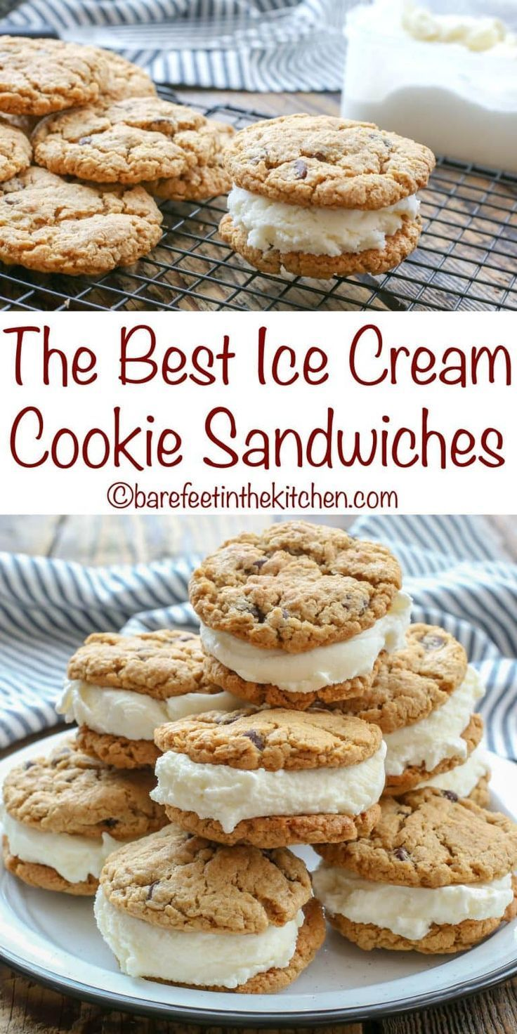 The BEST Ice Cream Sandwiches start with a perfectly chewy cookie! get the recipe at barefeetinthekitchen.com #icecreamsandwich
