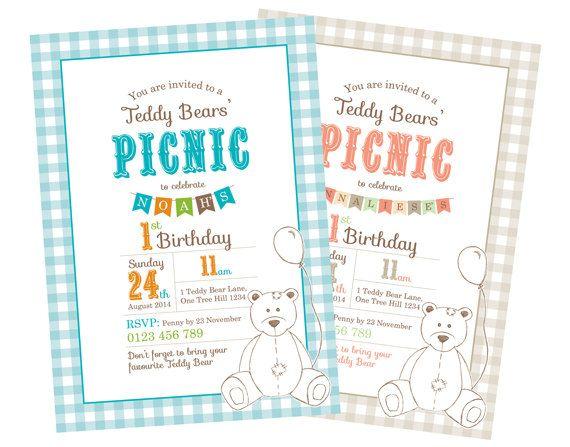 Printable Custom Birthday Party Invitation Template Teddy teddy - picnic invitation template