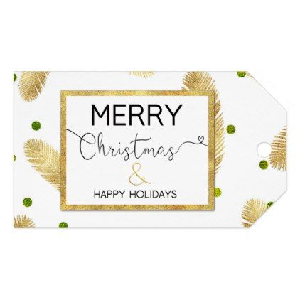 merry christmas gold glitter script gift tag pinterest
