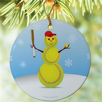 Softball Christmas Ornament Softball Ornaments Sports