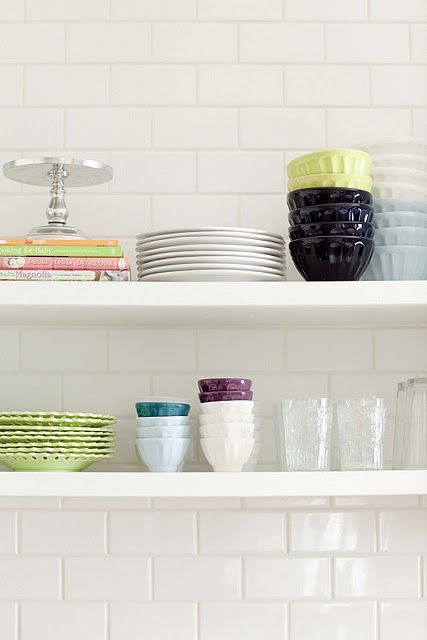more fun with Ikea dessert/cereal bowls from Antropologie- also love the color dishes on open shelving