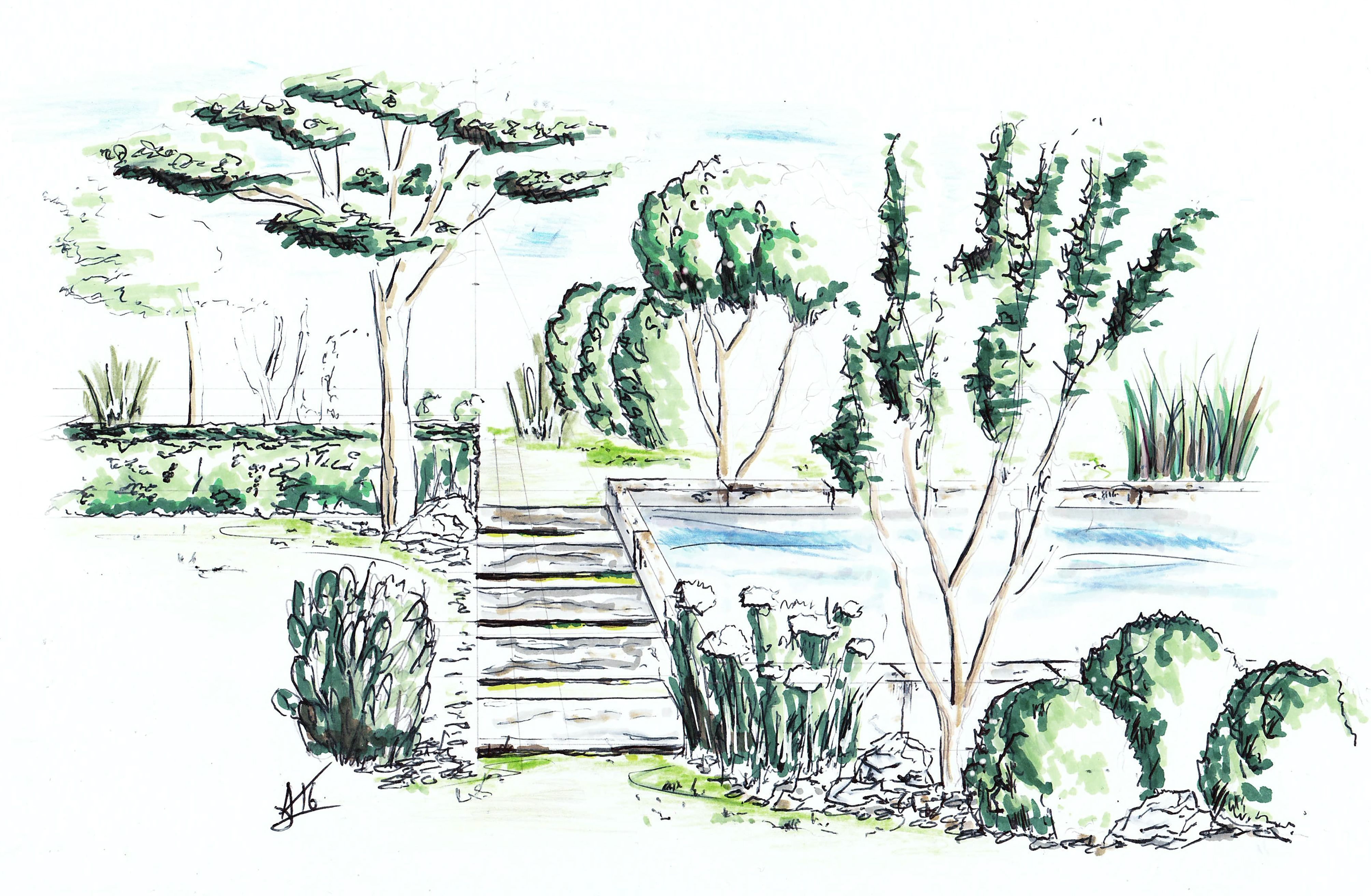Dessin Perspective Croquis Paysage Artiste Alexandre Trubert