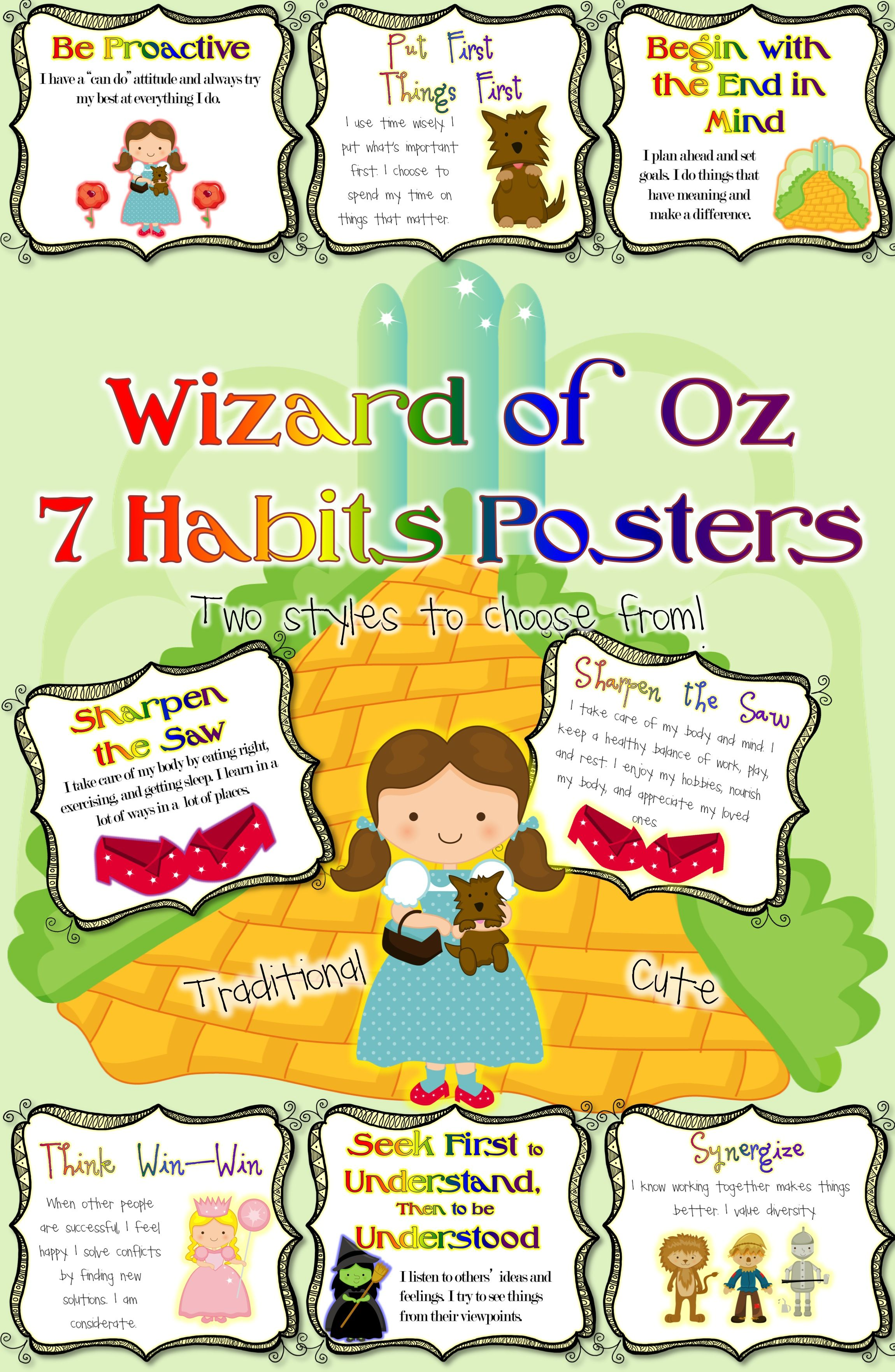 Leader In Me 7 Habits Posters Wizard Of Oz Classroom