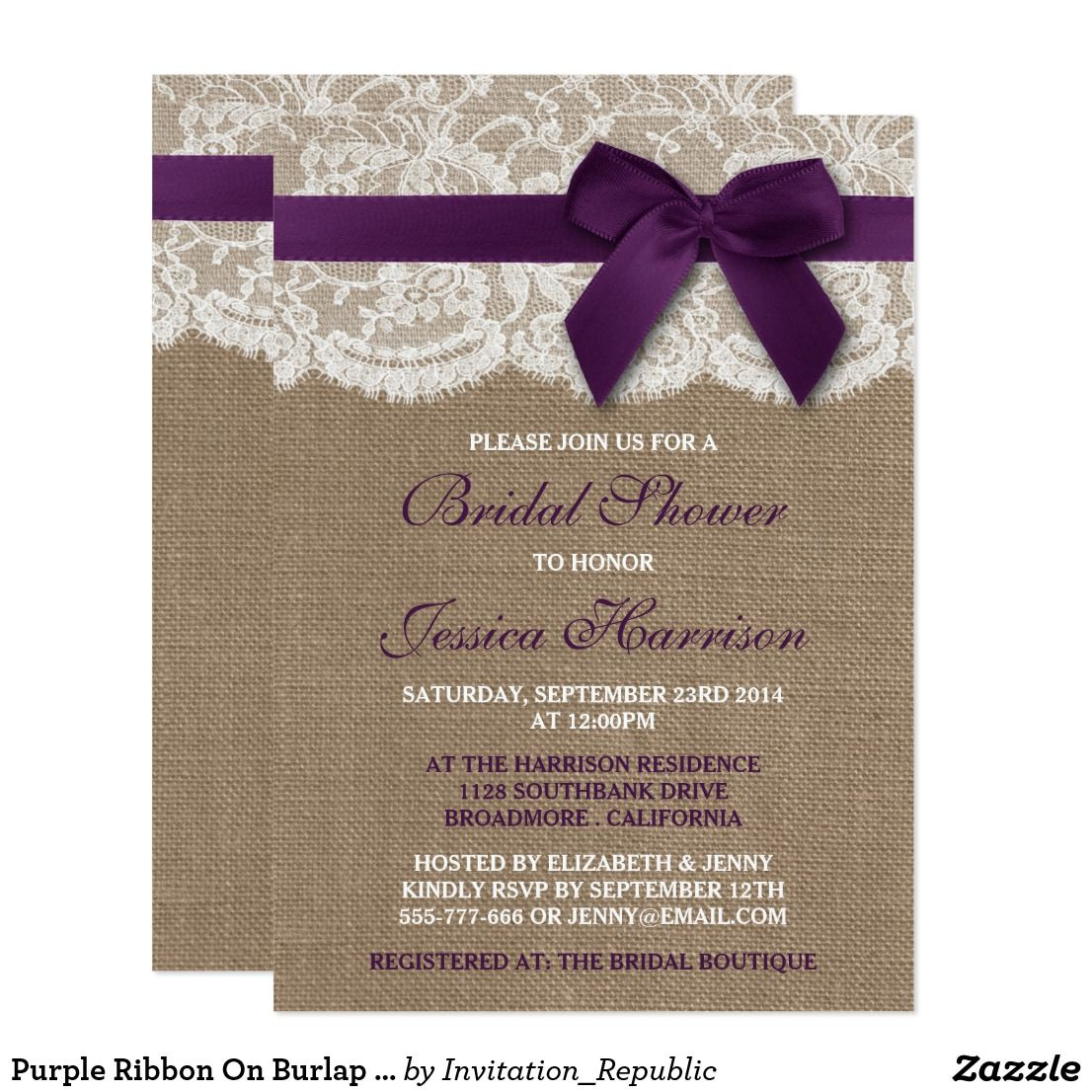 Purple Ribbon On Burlap Lace Bridal Shower Invitation Zazzle