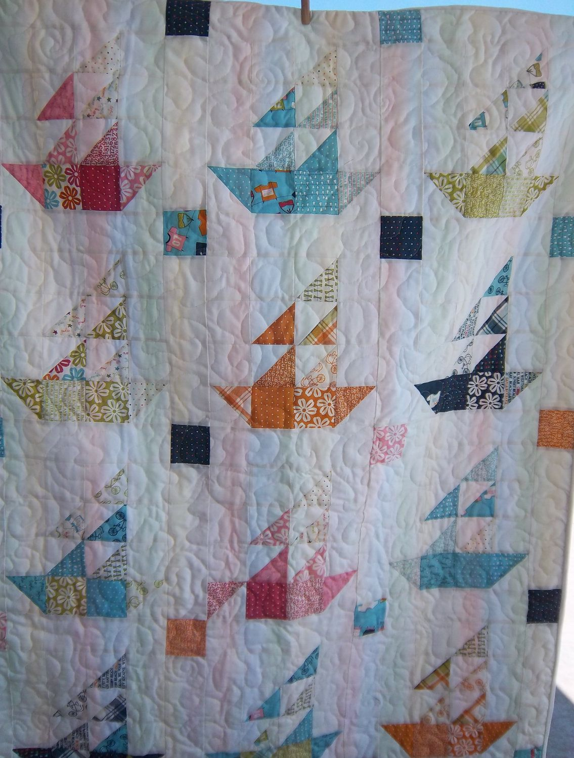 sailboat pattern quilt | Dreamy Sailboat Quilt with Lucy's Crab Shack by Dreamy Vintage Sheets ...