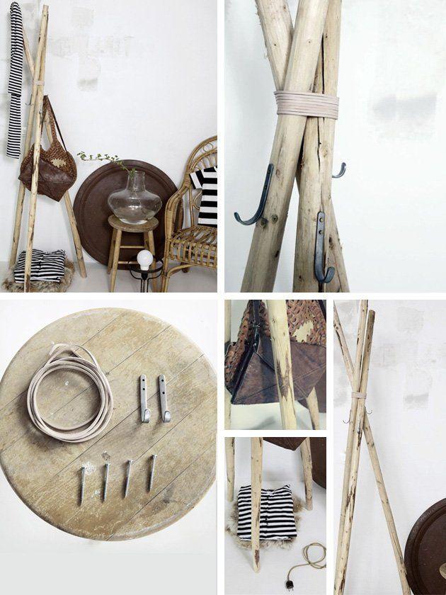 Freistehende Garderobe Holzstäbe Selber Machen