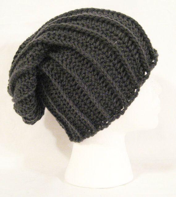 long slouch beanie dark grey hand crochet unisex by jeniebug76, $18.00