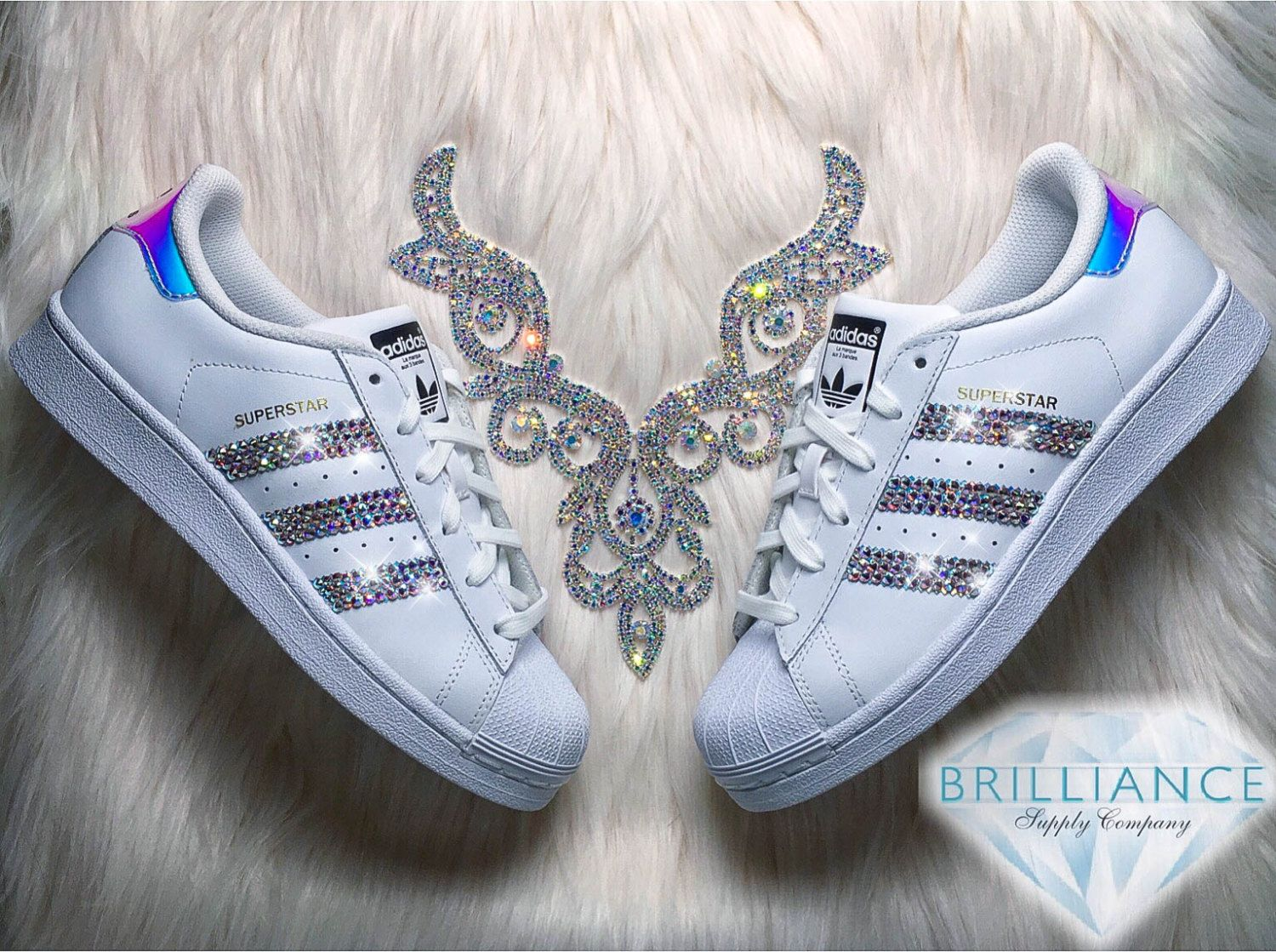 Adidas Originals Superstar Shoes Encrusted with Hundreds of Swarovski®  Premium Aurora Borealis Crystals!
