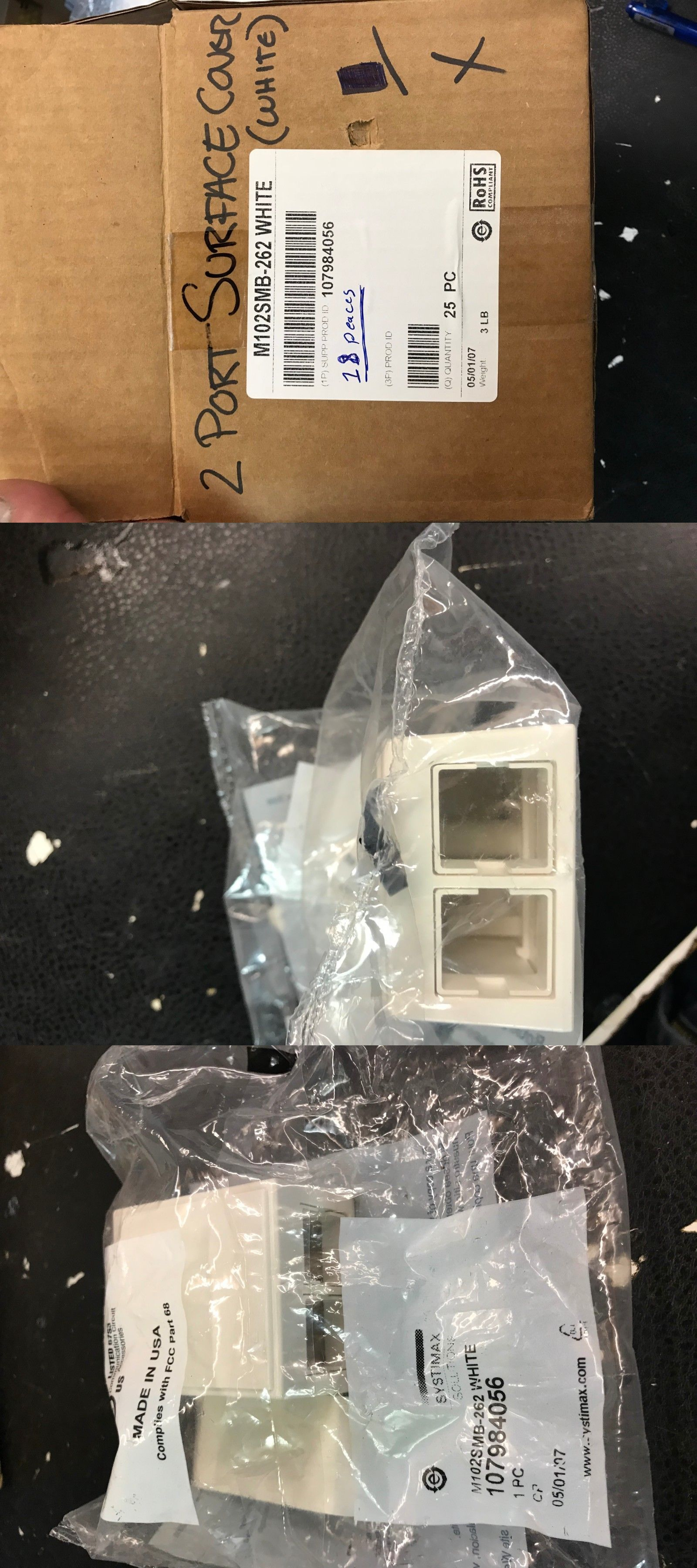 LOT 25 White COAXIAL Wall Plate PERFECT VISION Single Outlet F81 Connector 3 GHZ