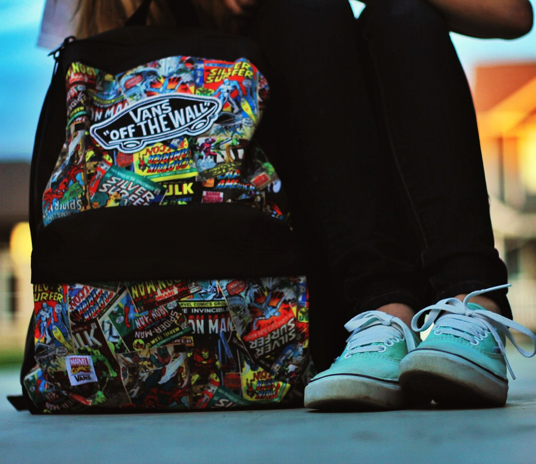 Marvel Vans backpack and mint Vans shoes  158bd8aeef621