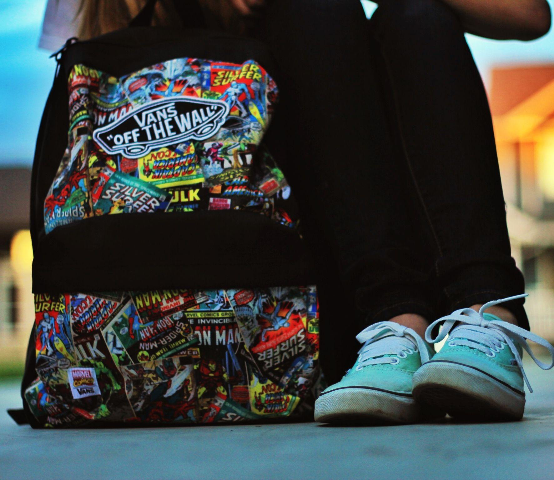 marvel vans backpack and mint vans shoes style pinterest