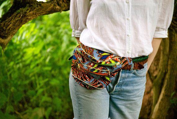 African fabric bumbag. Rust red metal ykk by beksiesboutique