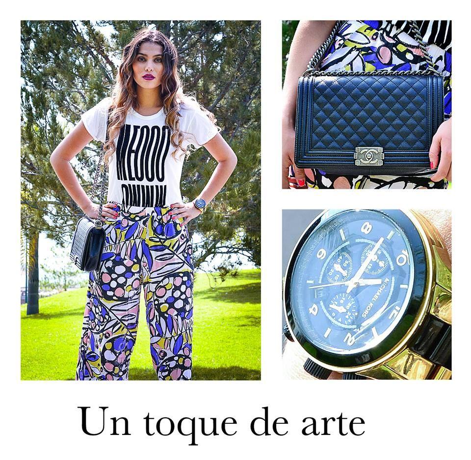 Blusa & Pantalón: Zara Bolso : Chanel Reloj : Michael Kors Zapatillas : Valentino Mira el outfit completo aqui: http://bit.ly/PxMex