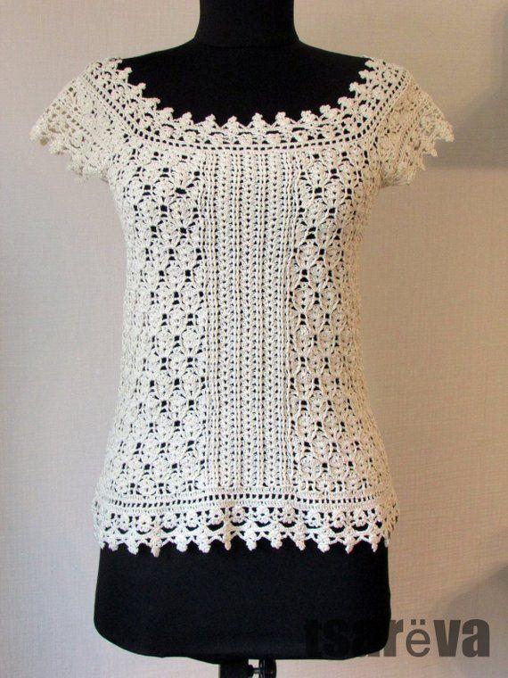 Crochet Top Kamilla Handmade Summer Women Ecru Cotton Lace Etsy In 2020 Crochet Dress Pattern Crochet Lace Top Crochet Top