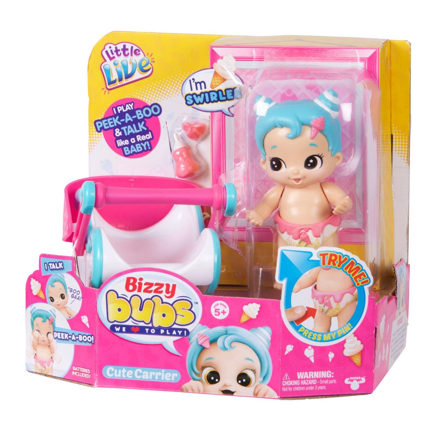 Little Live Bizzy Bubs Peek-A-Boo Baby Swirlee and Carrier Interactive Baby
