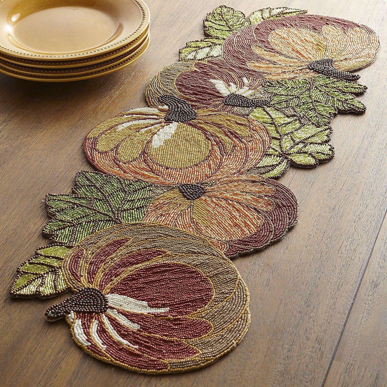 Good Multi Colored Harvest Pumpkin Beaded Table Runner   Polyester