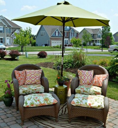 Good 28 Steep Patio Umbrellas Designs Interiordesignshome.com Close Up Of The  Wicker Chairs With Patio