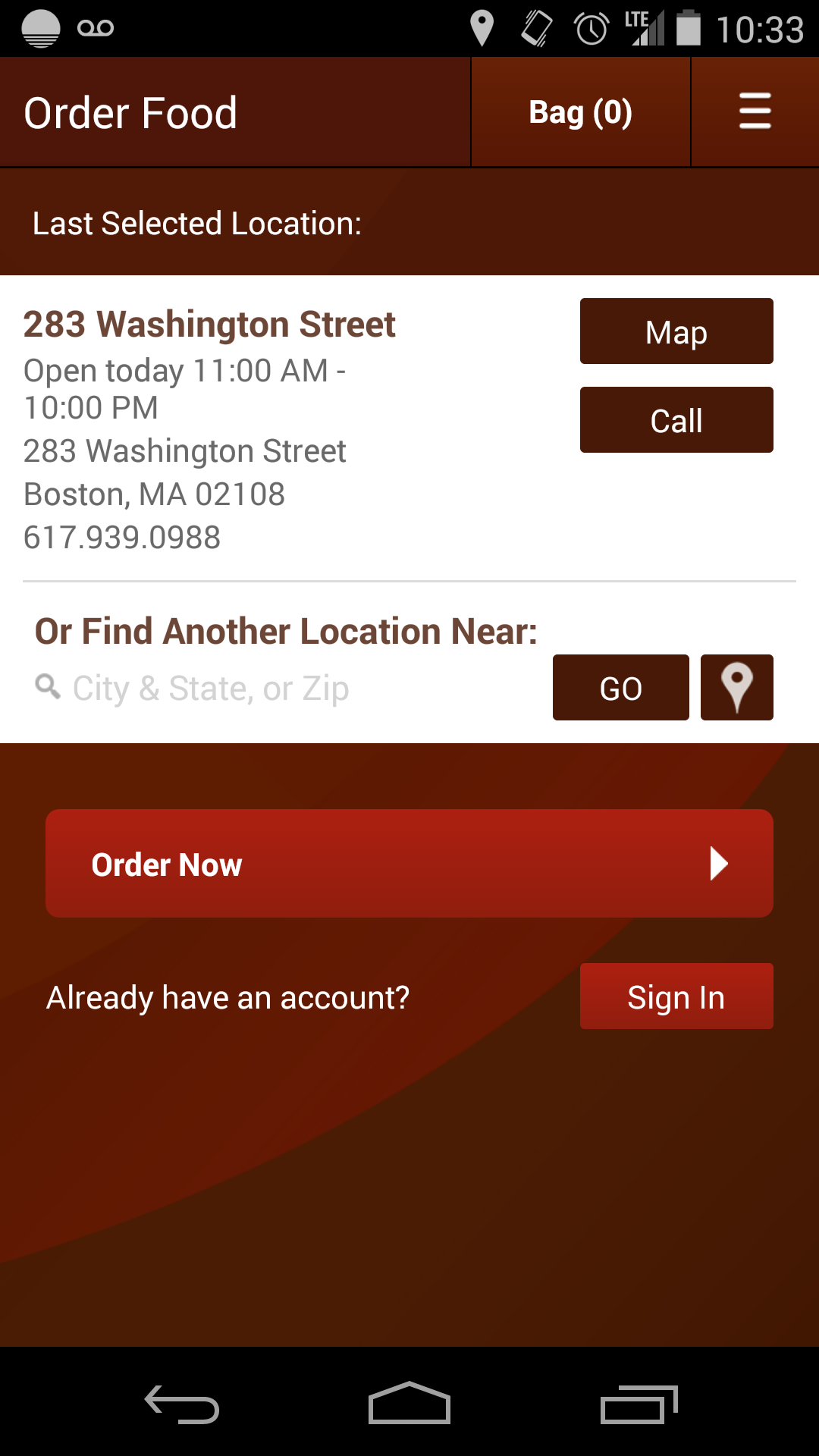 Chipotle app Street map, Chipotle app, City state
