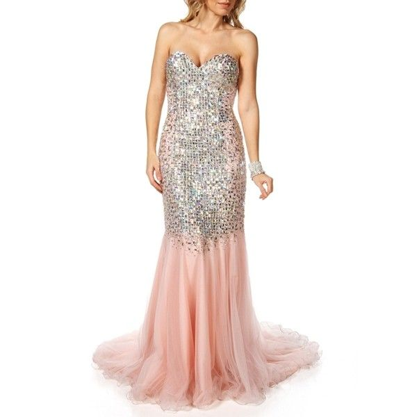 Terani Monique-Peach Prom Dress (9,805 MXN) ❤ liked on Polyvore ...