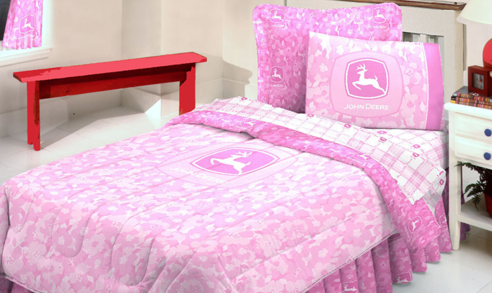 John Deere And Pink Floral Camo Bedding Set