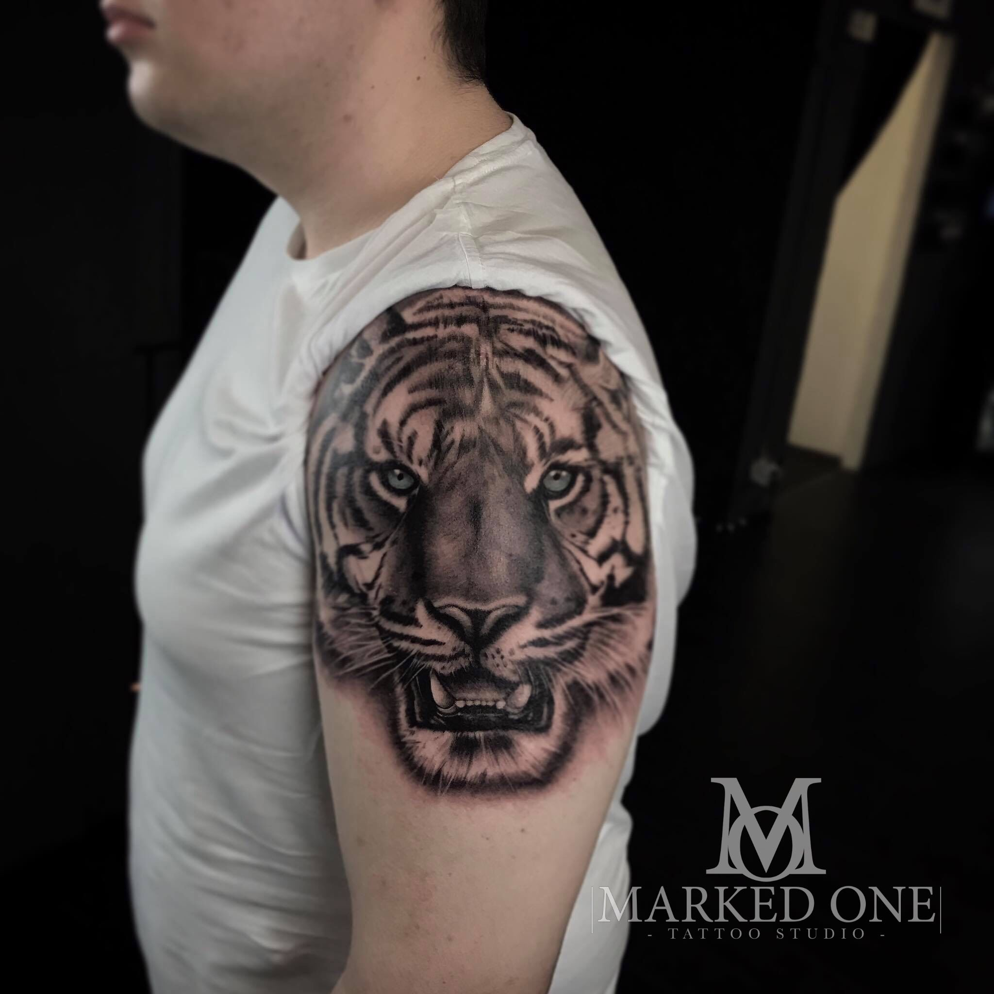 Clients First Tattoo Super Realistic Black And Grey Tiger Animal Tattoo On Arm Animal Tattoos For Men Tattoos First Tattoo