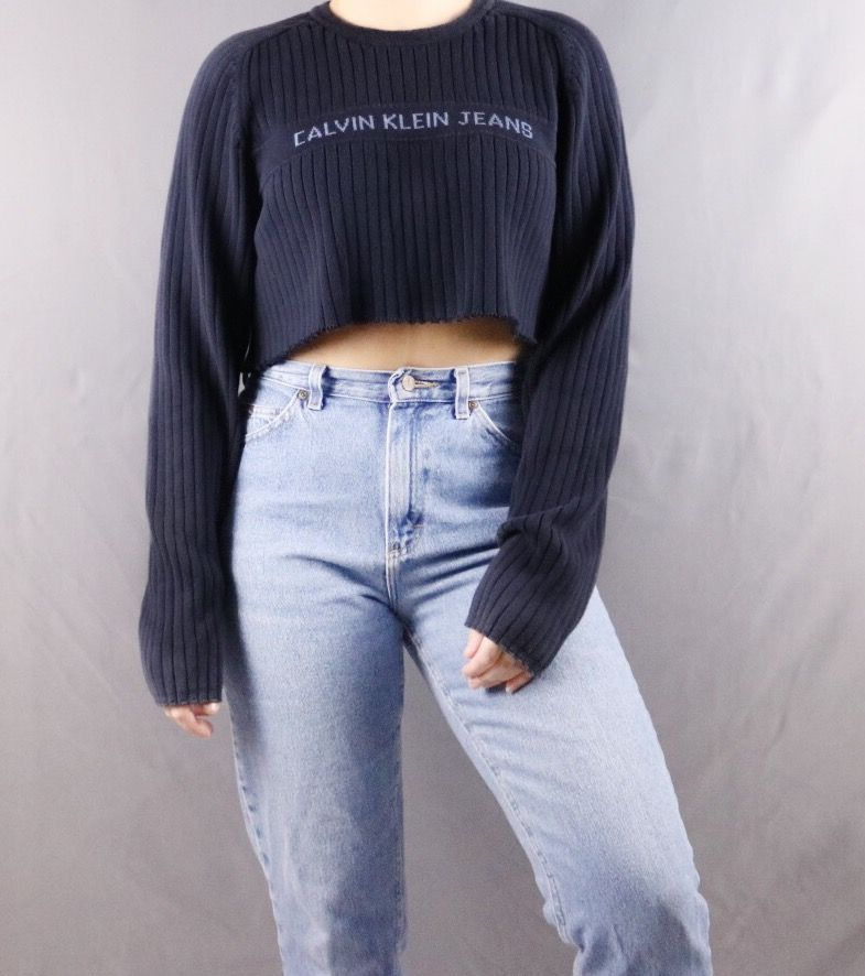 63ce12a93e6a Custom Cropped Calvin Klein Sweater. Distressed. Edgy. Grunge. Grungy 90s  style.