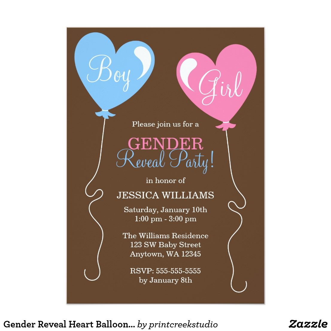 Gender reveal heart balloons pink and blue invitation ch de beb gender reveal heart balloons pink and blue invitation stopboris Images