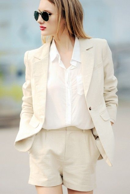 White shorts suit , Summer chic.