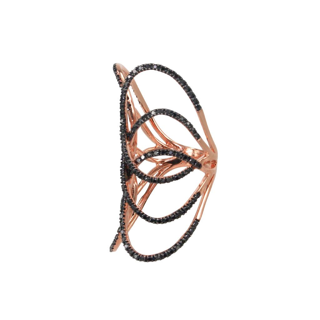 Allora 18K Rose Gold Black Diamond Ring Shop Fine Jewelry Online